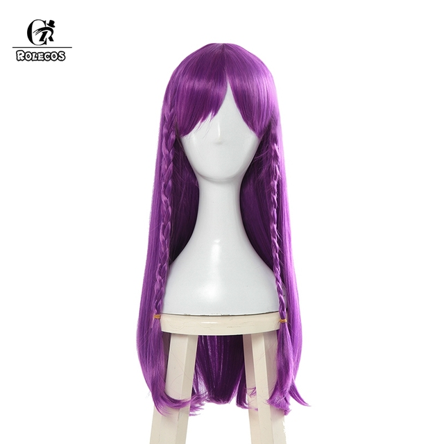 ROLECOS LOL K/DA Cosplay Hair Kaisa Cosplay Headwear Game LOL KDA 80CM Long Purple Heat Resistant Synthetic Hair Perucas 3