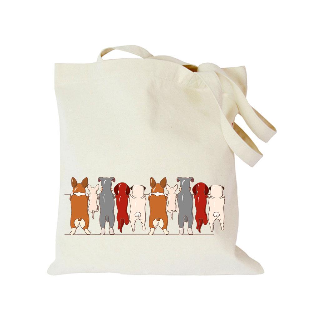 2019 Pet dog series canvas bag customized eco custom tote bag custom made shopping bags with logo Dachshund Shepherd Dog Poodle (4)