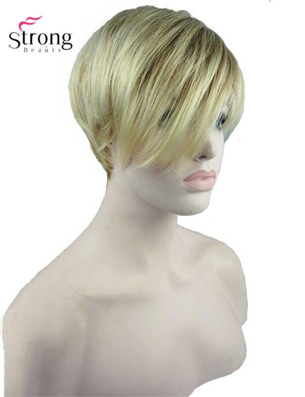 Короткие прямые светлые подчеркнул стороны прокатилась Синтетические чёлки волос синтетический парик