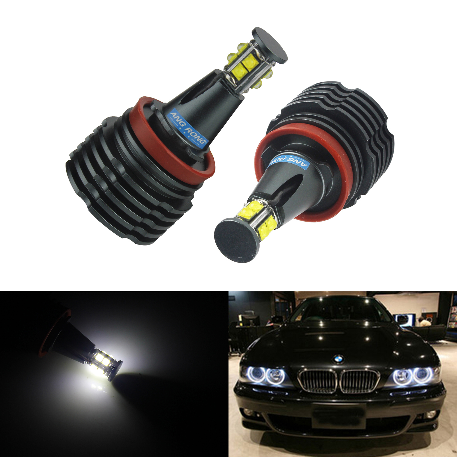 ANGRONG 2X H8 80W LED Bulb Marker Angel Eyes Halo Ring Light Headlight Xenon White For BMW image