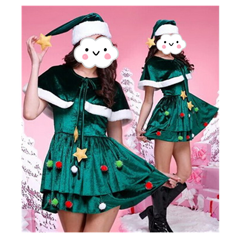 Wholesale New Style Green Christmas costumes Dress For Woman Adults Sexy Santa Claus Suit Disfraces New Years Velvet Costumes