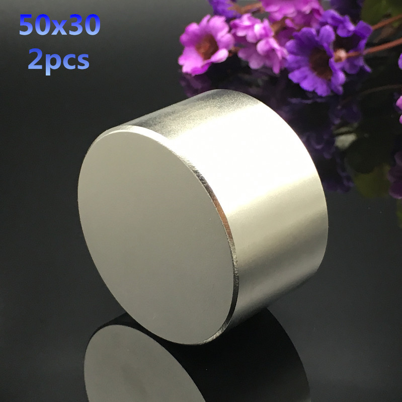 Free shipping 2pcs 50mmx30mm hot round magnets 50x30mm strong Rare Earth Neodymium Magnet 50x30 mm wholesale Dia 50*30 mm qs 3mm216a diy 3mm round neodymium magnets golden 216 pcs