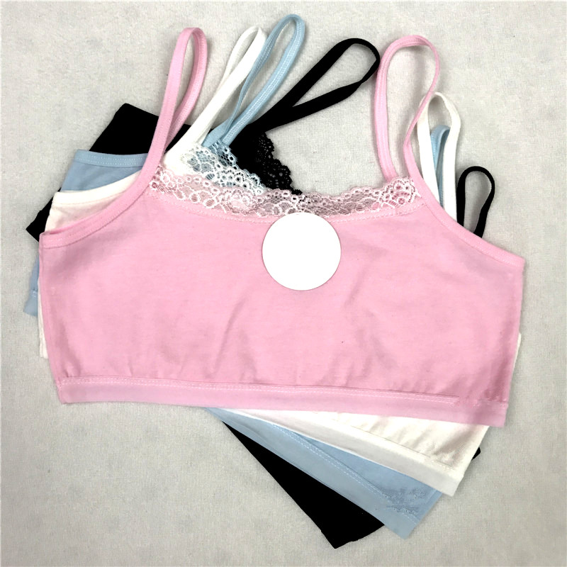 5pcs/lot Young Girls Students Bra Solid Cotton Purbery Children Lace Underwear Kids Vest Bras Teenage Underclothes Undie