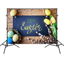 Easter Background for Photo Studio Eggs Wood Floor Photographic Backdrop Celebration of holiday decorations