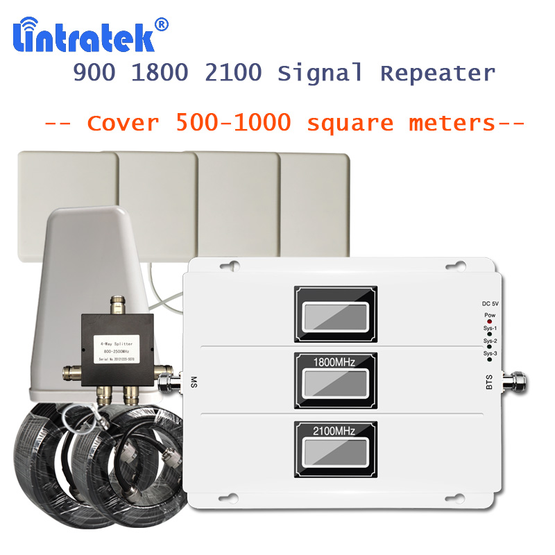 Lintratek 900 1800 2100 Mhz Signal Booster With LCD Display Full Kit Repeater Amplifier 2g 3g 4g Lte 1800 Cellphone Amplifier 39