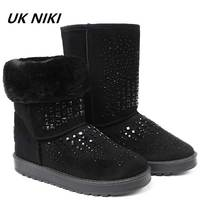 UKNIKI Shoes Women Female With Plush Mid Calf Boots Winter Snow Boots For Women Faux Suede