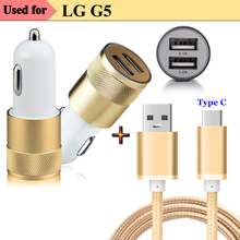 1M / 3FT Nylon Type C USB 3.1 Charging Data Cable & Dual USB Car Charger Adapter for ASUS Zenpad 3S 10 LTE Z500KL Z500M G5 V20