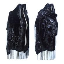 Женский Гладкий вельветовый шарф с принтом «Черная роза», роскошный шарф для вечеринки, зимний подарок для женщин