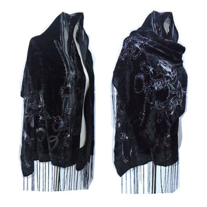 Image 1 - All Black Rose Printed Smooth Velvet Burnout Scarf Women Gorgeous Evening Party Shawl Winter  Gift For Lady