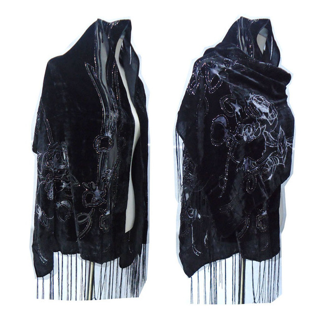 All Black Rose Printed Smooth Velvet Burnout Scarf Women Gorgeous Evening Party Shawl Winter  Gift For Lady