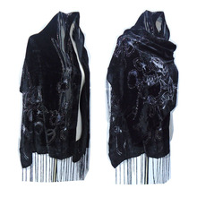 Alle Black Rose Gedrukt Glad Fluwelen Burnout Sjaal Vrouwen Gorgeous Avondfeest Shawl Winter Gift Voor Lady