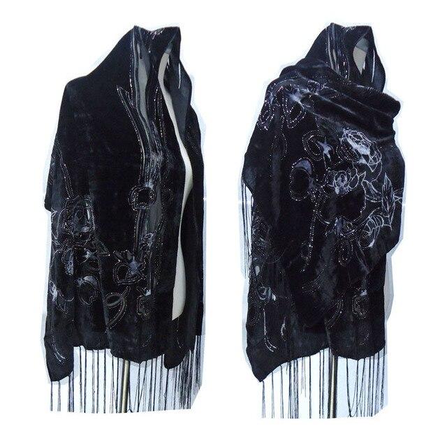 Foulard en velours pour femmes, magnifique châle de fête, en velours lisse, imprimé Rose noir, cadeau dhiver pour dames