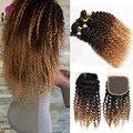 8A Malásia Kinky Curly Cabelo Com Encerramento 3 pcs Ombre Bizarro Curly Cabelo Humano Trama Encaracolado Cabelo Encaracolado Profunda Com Fecho cabelo
