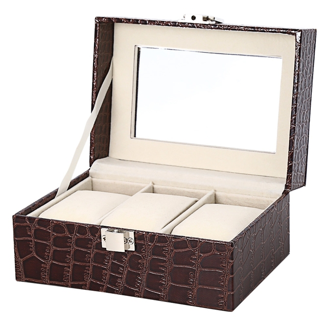 Aliexpresscom Buy Multifunction 3 Slots Leather Watch Box Elegant