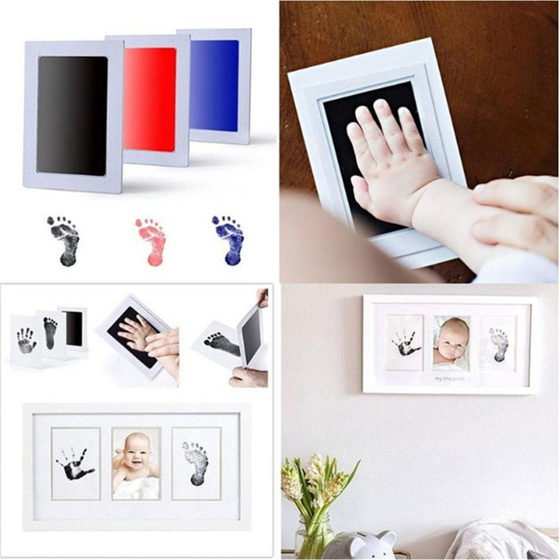 An Included Clean-touch Ink Pad Hand & Footprint Makers Baby Souvenirs Baby Handprint Footprint Photo Frame Kit With Hand Makers