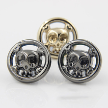 Skull Styles Option Button Vintage Novelty Skeleton Style Quality Metal Material Cuff links 100 pcs/lot