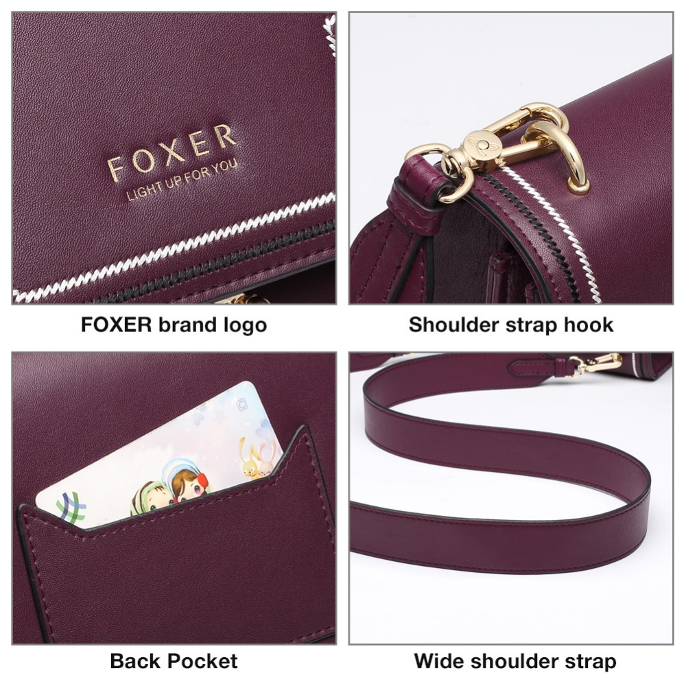 FOXER Brand Split Leather Stylish Women Shoulder Bags Female Large Capacity Luxury Soft Messenger Bags Valentine's Day Gift 4