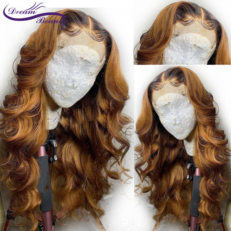 Ombre Blonde Lace Front Human Hair Wigs With Baby Hair Brazilian Wavy Remy 13X6 Deep Part Lace Front Wigs Dream Beauty