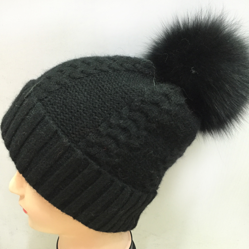 2148a28efe1e6 Brand Women Winter Hats Wholesale cashmere beanie Caps With Large 100% Fox  Fur Pom Poms Hip hop Kintted Warm Mens Hats-in Skullies   Beanies from  Apparel ...