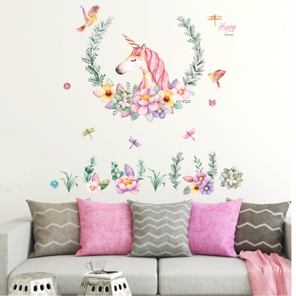 Cartoon Unicorn Flower Bird Wall Stickers Bedroom Living Room Sofa ...