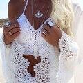 Sexy Colete Rendas de Croché Top Safra Mulheres Strap Nova 2016 Mulheres Tops Tubo Espartilho Backless vestido de Verão