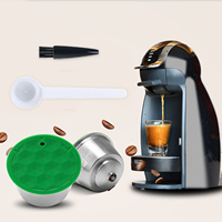 Behogar Refillable Reusable Washable Stainless Steel Coffee Capsule Cup with Spoon Brush for Dolce Gusto Coffee Machine|Coffeeware Sets|   -