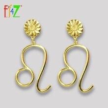 F.J4Z Hot Zodiacs Earrings Vintage Fashion Alloy Sign Pendant Women Big Earring Horoscope Jewelry Collection