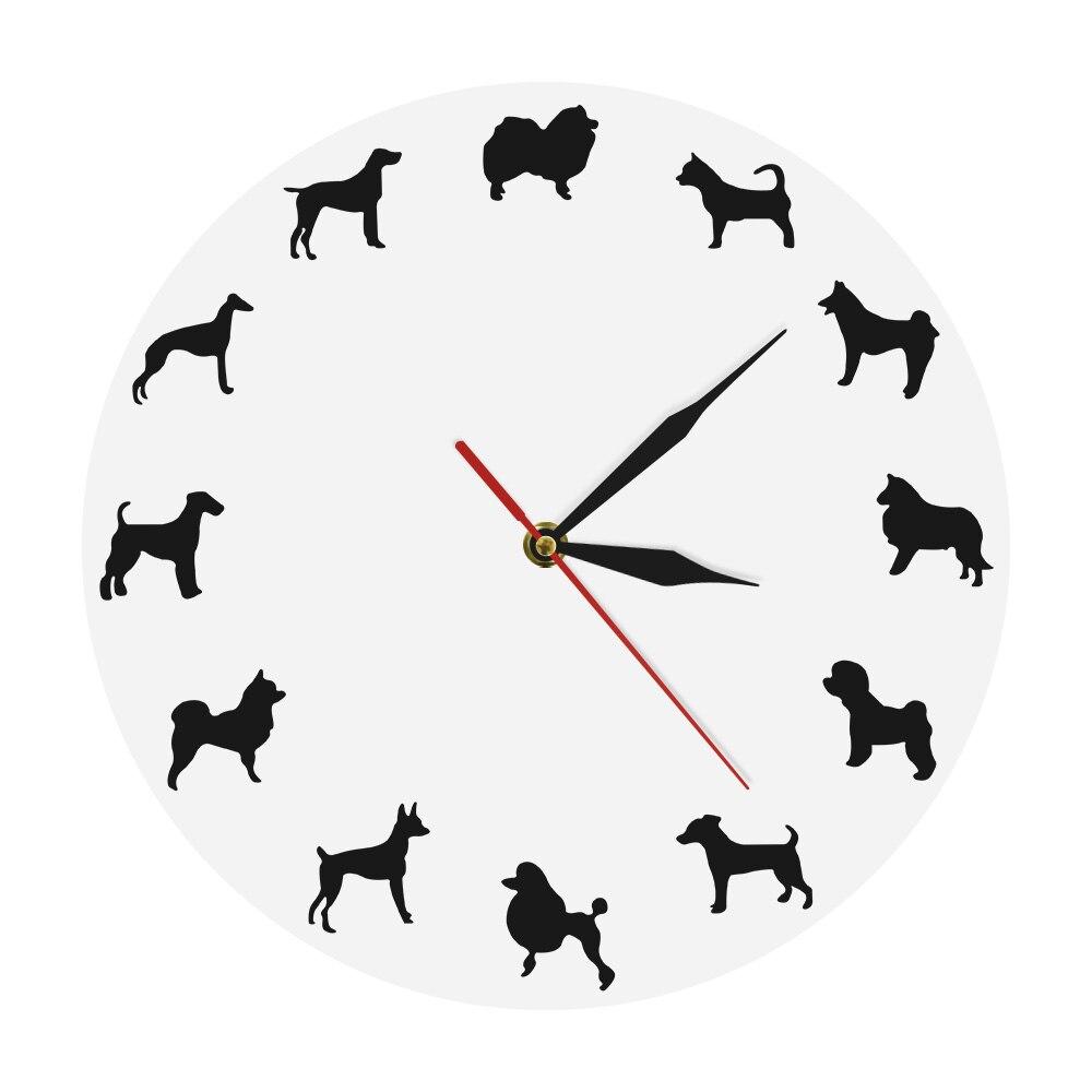 Different Dog Breeds Minimalist Design Modern Wall Clock Nursery Kid Room Puppy Pets Wall Decor Clock Watch Vet Clinic Dog Clock