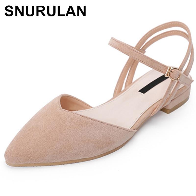 hot sales sold worldwide united states SNURULAN Sweet Women Pointed Toe Low Heels Sandals Plus Size Flock ...