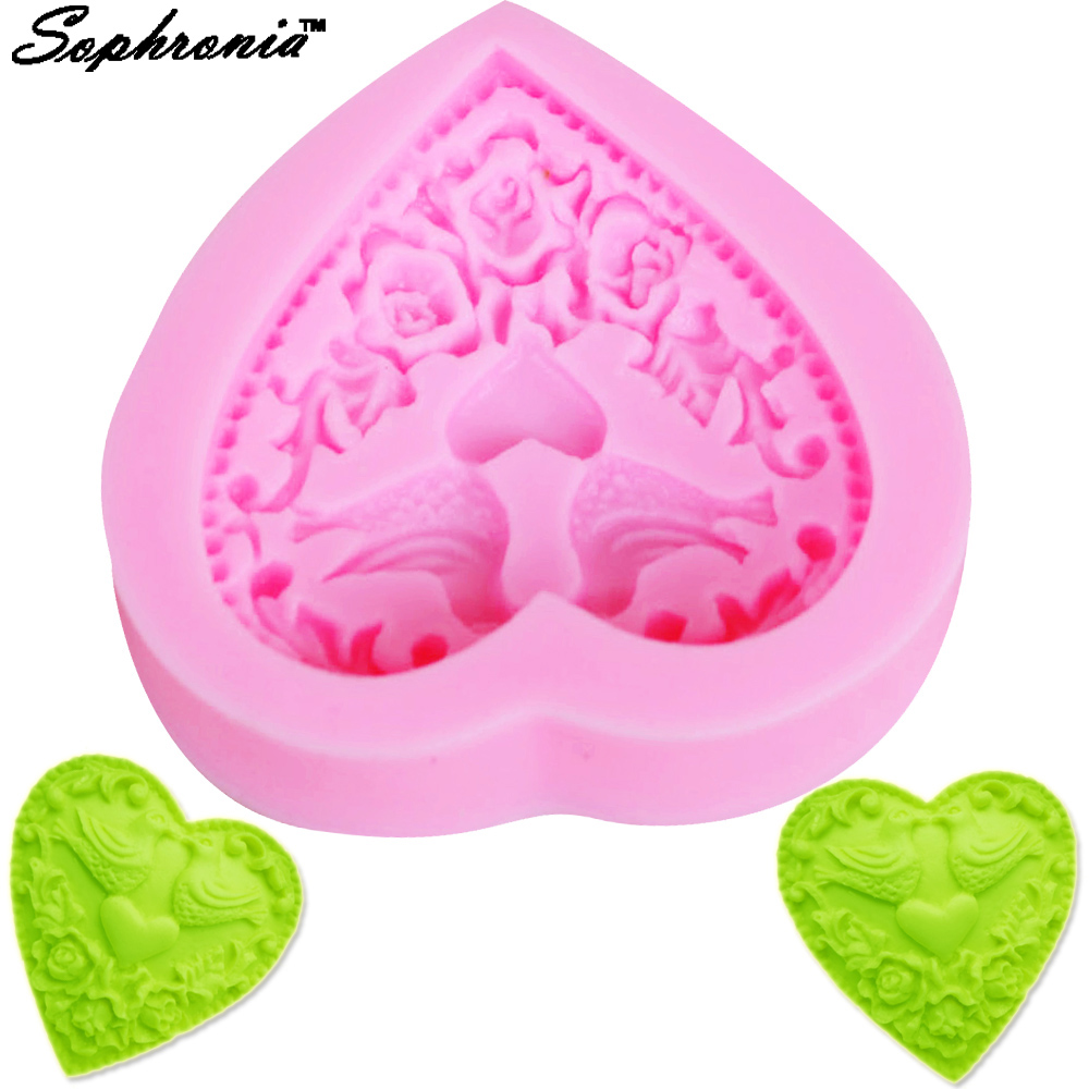 Sophronia Birds Love Shape 3D Silicone Mold Cake Decoration Fondant Sugarcraft Cake Mold Baking Kitchen Accessories F1014
