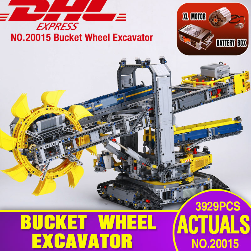 DHL LEPIN 20015 3929Pcs Technic Bucket Wheel Excavator Model Building Kit Blocks Brick Compatible with legoing 42055 model Toys 196pcs building blocks urban engineering team excavator modeling design