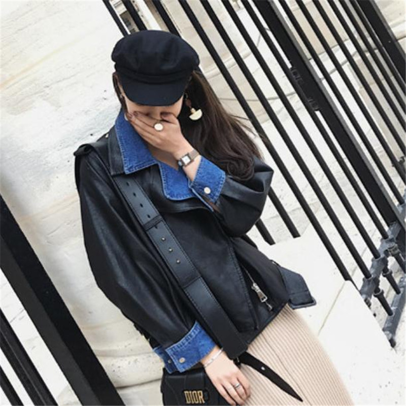 Européen Pu Et Court Paragraphe Cuir En Casual Black Américain Denim Couture Locomotive Mode Veste Col Femmes Manteau XdxXgfB