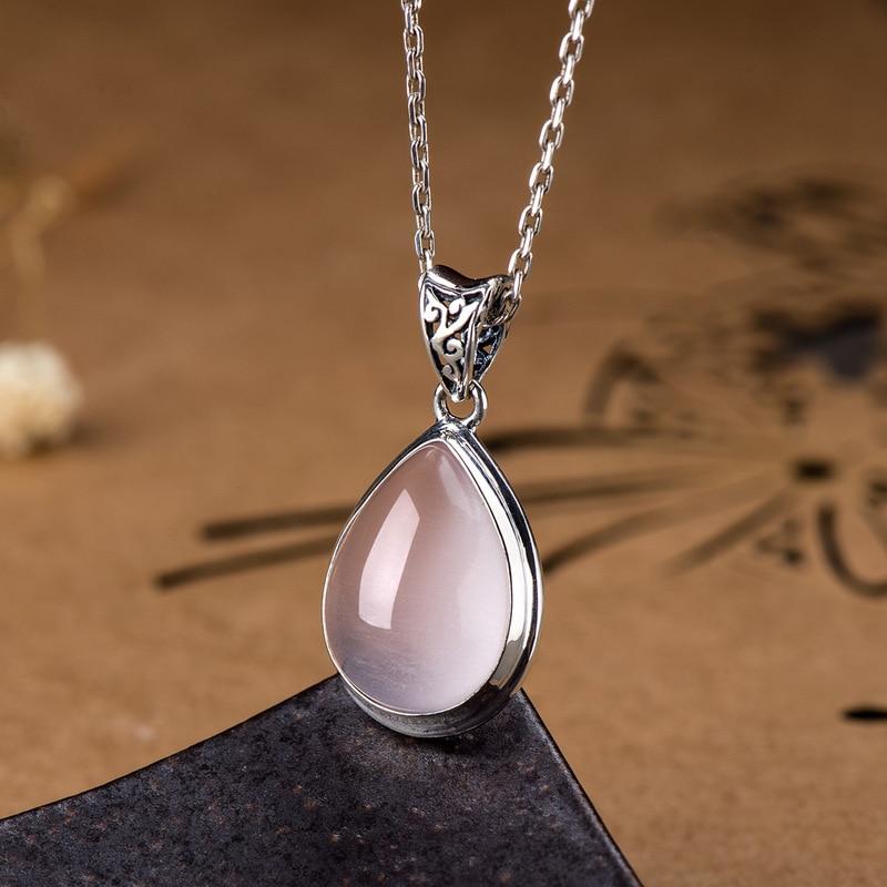 Image 4 - Genuine 925 Silver Rose Quartz Pendant For Women Natural Gemstone  Water Drop Shape Necklaces