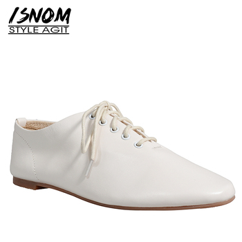 ISNOM Genuine Leather Flats Women Fashion Casual Solid Shoes Woman Square Toe Lace Up Shoes Ladies Soft Shoes 2019 New Autumn