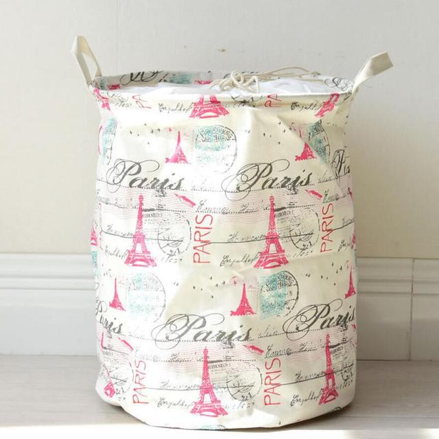 New Red Tower Stamps Cloth Laundry Hamper Clothes Storage Baskets Home Organizer Barrel Bags Kids