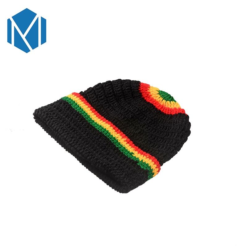 C Unisex Rasta Rainbow Striped Jamaica Beanie sombrero de punto ...