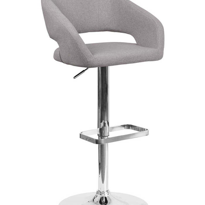 Flash Furniture Contemporary Mid back Design Gray Fabric Upholstery Adjustable Height Barstool with Chrome Base
