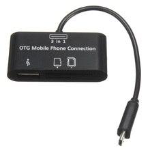 3in1 Micro USB Адаптер SD Card Reader кард-ридер для OTG Мобильный Телефон Новый Черный
