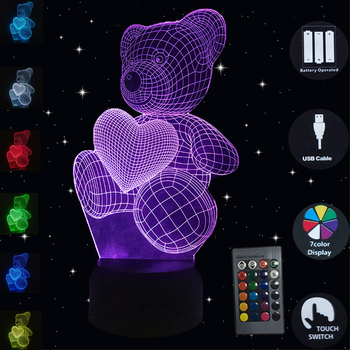 Table Lamp Teddy Bear 7 Colors Change 3D Night Light USB Luminaria LED Touch Dest Lamp Decorative Home Lighting Christmas Gifts 3d led night light usb 3d luminous novelty lighting base table lamp home decor valentine s birthday christmas gifts