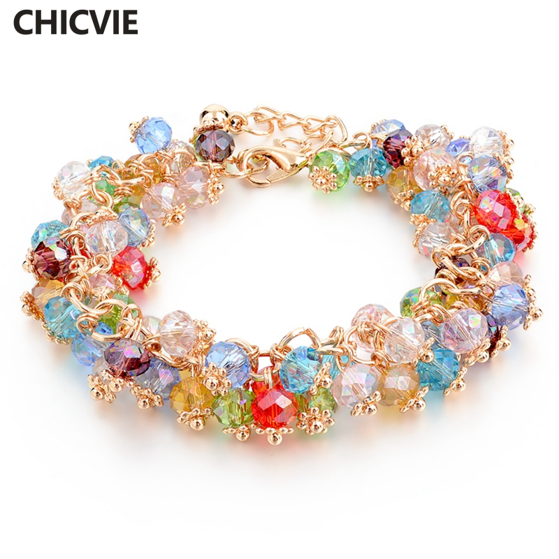 Popular Charm Bracelets 2: CHICVIE Handmade Gold Crystal Bracelets For Women Girls