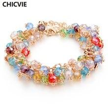 Женский браслет с кристаллами chicvie золотыми ручной работы