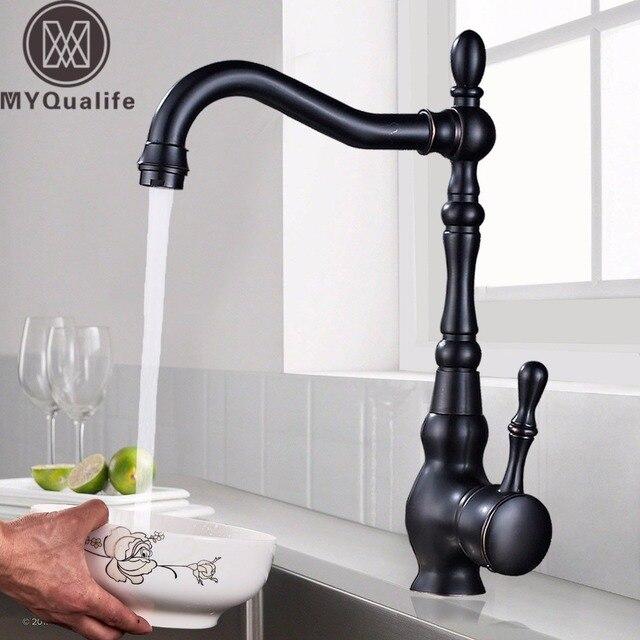 Pont Mount salle de bain cuisine robinet mitigeur 360 rotation bassin évier mélangeur robinets noir eau chaude et froide mélangeurs