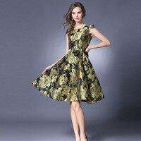 2017 Women High Quality Elegant Vintage Jacquard Dress Summer Fashion A Line Short Dress Evening Party