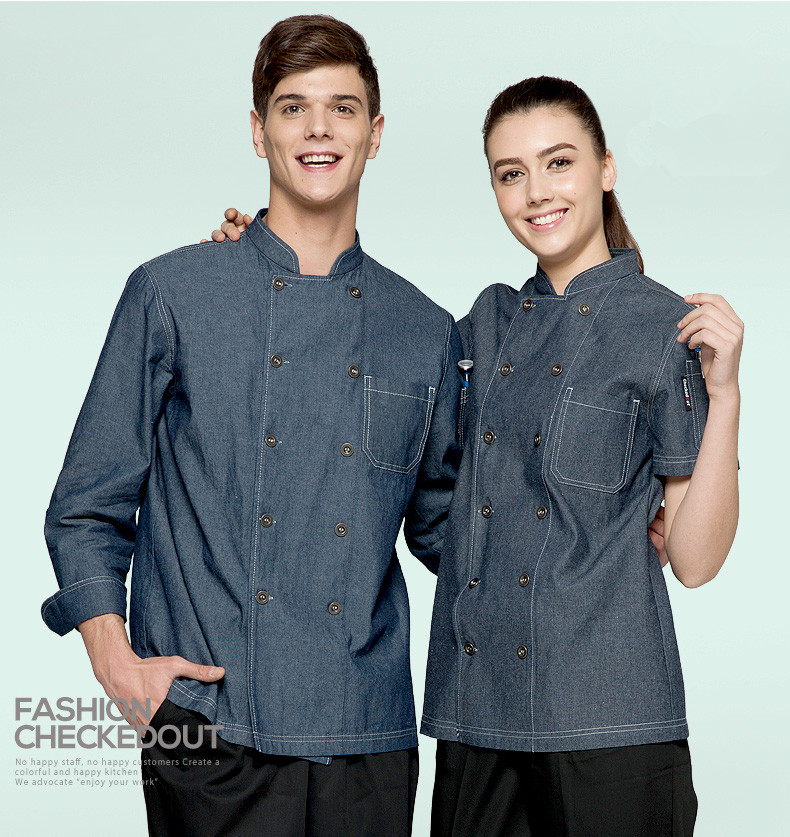 5 get 10 off 10 get apron for free Classy man woman chef uniform denim