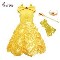 MUABABY Girls Princess Belle Dress Up Costume Kids Sleeveless Yellow Party Dress Children Girl Carnival Xmas