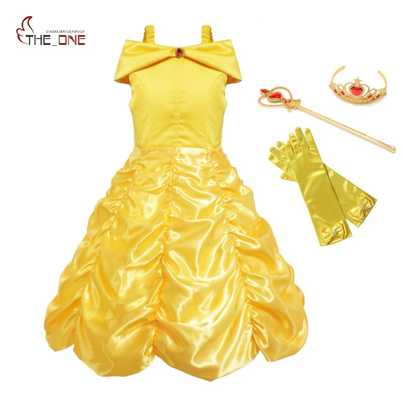 MUABABY Girls Princess Belle Dress up Cosplay Costume Children Off Shoulder Layered Yellow Party Ball Gown Halloween Dress Girl