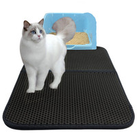 Waterproof Cat Litter Mat EVA Double Layer Trapper Mats With Folding Waterproof Honeycomb Sifting Pad Protect