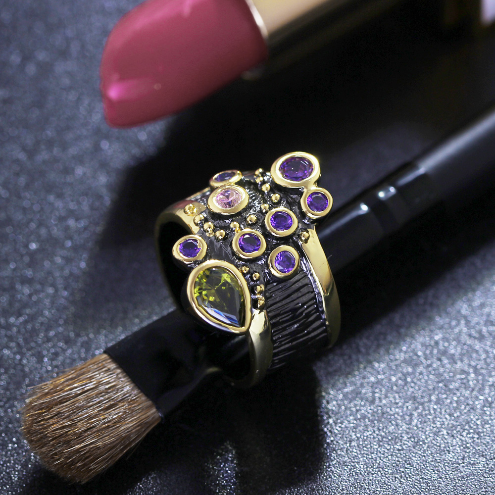 DreamCarnival Vintage Women Ring Multi Shape Farverige CZ Bryllup - Mode smykker - Foto 4