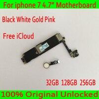 С IOS Системы для iphone 7 материнской платы с Touch ID, оригинальный разблокирована для iphone 7 плата + бесплатная iCloud, 32 ГБ/128 ГБ/256 ГБ
