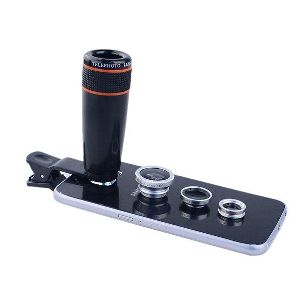 bilder für 4in1 12x schwarz Zoom Teleskop Optische Linse & Macro & weitwinkel objektiv & Fisch-augen-objektiv mit clip für iphone samsung HTC Xiaomi